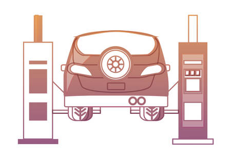 Car lifting machine and car icon. Stock Illustratie