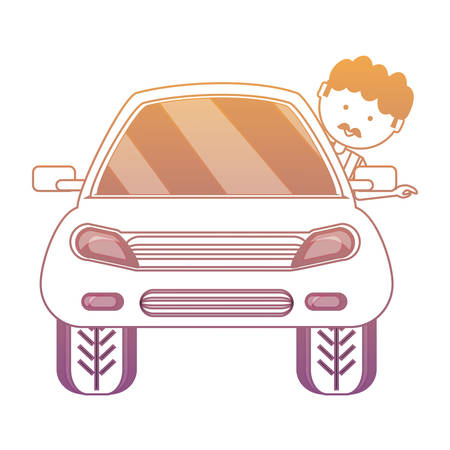 Car with cartoon mechanic with head out the window.