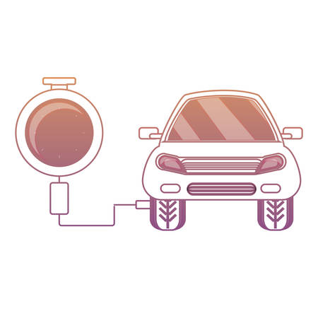 tire gauge measuring the tire pressure of a car over white background colorful design vector illustration Illustration