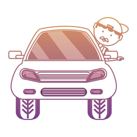 car with cartoon man with head out the window over white background colorful design  vector illustration Illustration