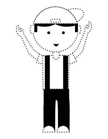 Cartoon mechanic man standing with arms up over white background illustration. Illustration