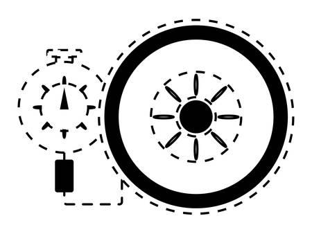 Tire gauge measuring the tire pressure. Illustration