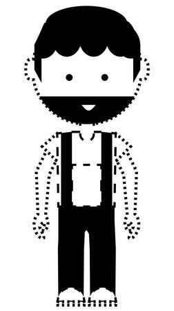 Cartoon mechanic man icon illustration.