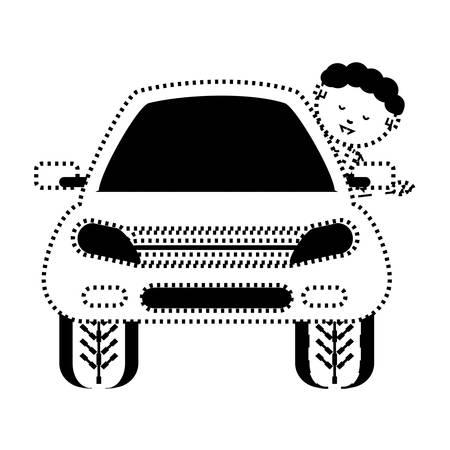 Car with cartoon man illustration.