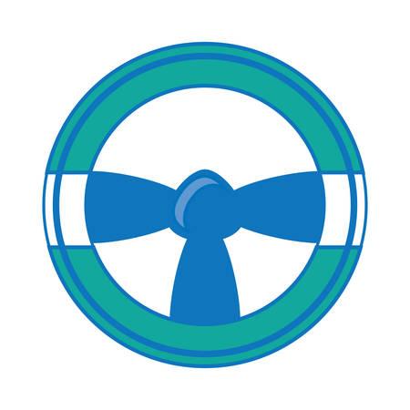 Steering wheel icon over white illustration. 일러스트