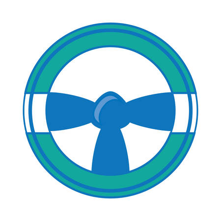 Steering wheel icon over white illustration. Ilustrace