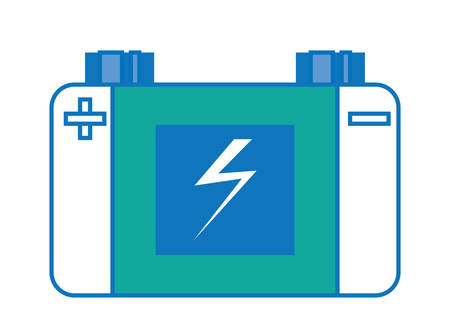 Car battery icon over white illustration with colorful design. Illustration