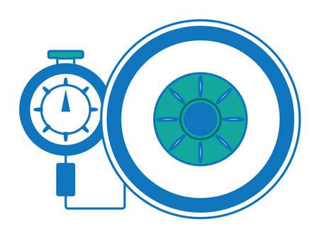 Tire gauge measuring tire pressure in colored design cartoon illustration. Illustration