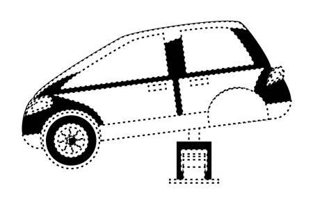 Car service design with car on a automotive jack over white illustration.