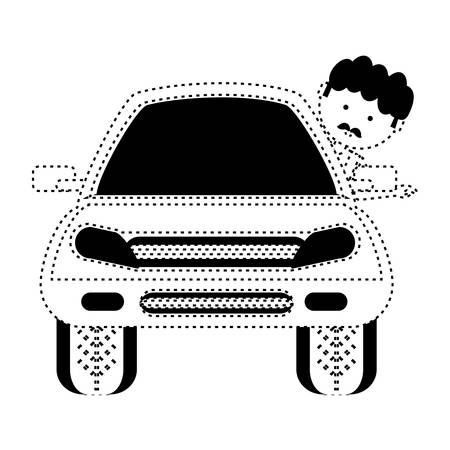 Car with cartoon mechanic with head out the window in dotted and black lines illustration. Illustration