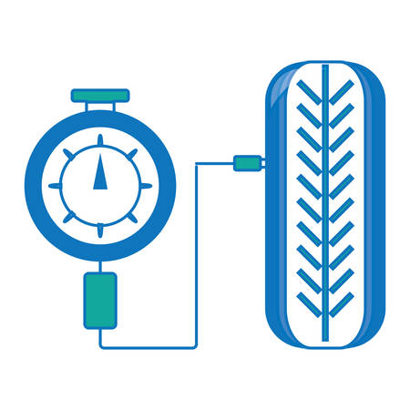 Tire gauge measuring the tire pressure in colored design cartoon illustration. Illustration
