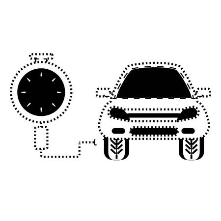 tire gauge measuring the tire pressure of a car over white background vector illustration