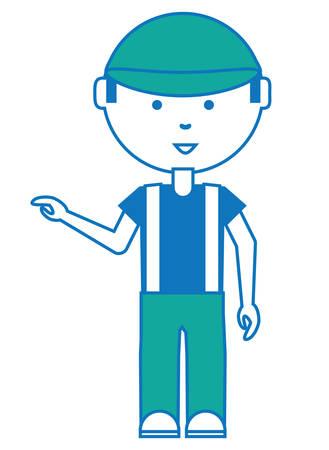 Cartoon mechanic man icon over white illustration.