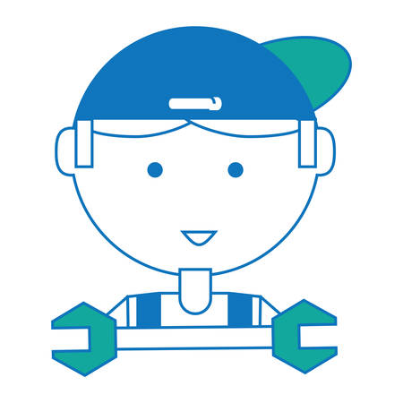 Cartoon mechanic man face and wrench tool icon illustration.