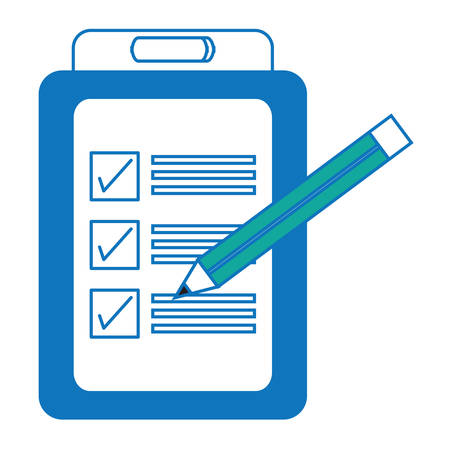 Checklist and pencil icon over white illustration.