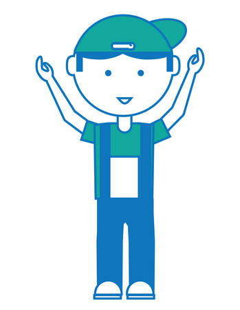 Cartoon mechanic man standing with arms up over white illustration. Illustration