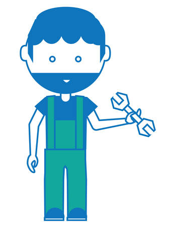 Cartoon mechanic man standing and holding a wrench tool over white illustration. Illustration