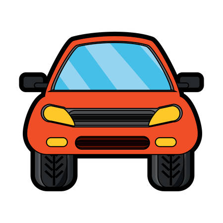 Front view of a car icon in colorful design cartoon illustration.