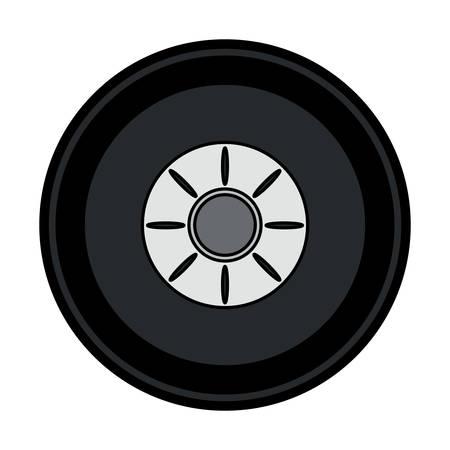 Car tire icon in colored design cartoon illustration.