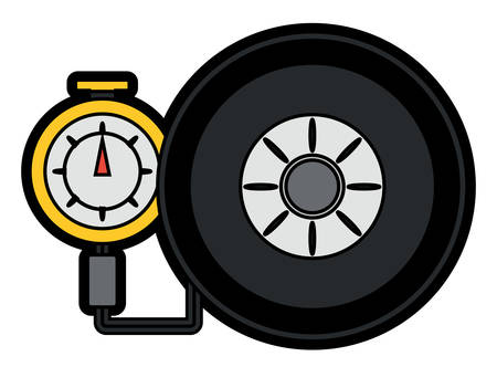 tire gauge measuring the tire pressure over white background colorful design vector illustration Vettoriali