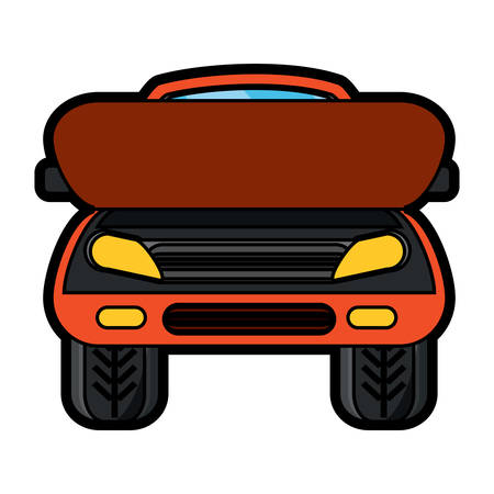 Car with open hood icon in colorful design cartoon illustration.