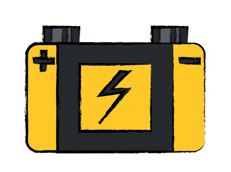 Car battery icon over white background colorful design vector illustration