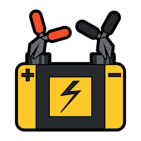 Pliers connected to car battery icon in colorful design cartoon illustration.