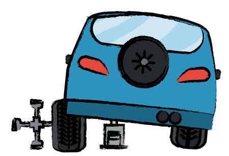 Car service of a changing a tire, design with car on a Automotive Jack and cross piece tool over white background colorful design vector illustration