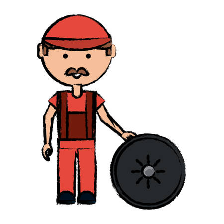 Cartoon mechanic man with a car tire over white background colorful design vector illustration Illustration