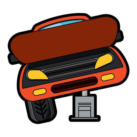 Car service design with car on a Automotive Jack over white background colorful design vector illustration