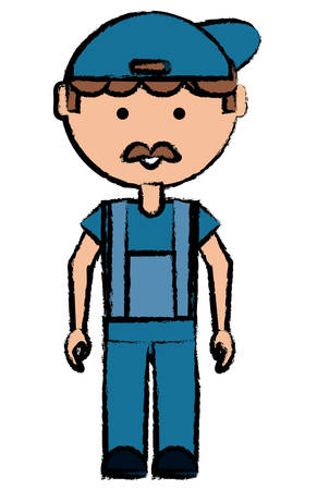 Cartoon mechanic man with a cap over white background colorful design vector illustration