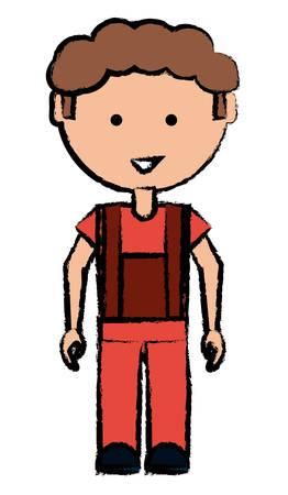 Cartoon mechanic man icon over white background colorful design vector illustration Illustration