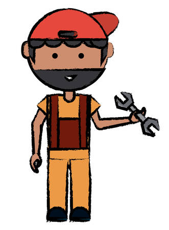 Cartoon mechanic man standing and holding a wrench tool. Illustration