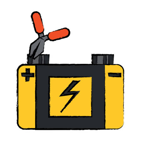 Pliers connected to car battery icon over white background. Colorful design illustration.
