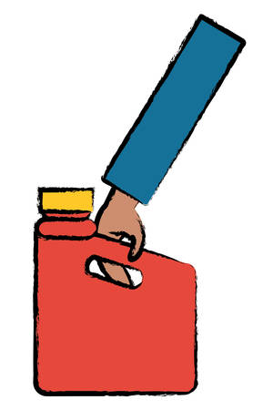 Hand holding an oil gallon icon. Illustration
