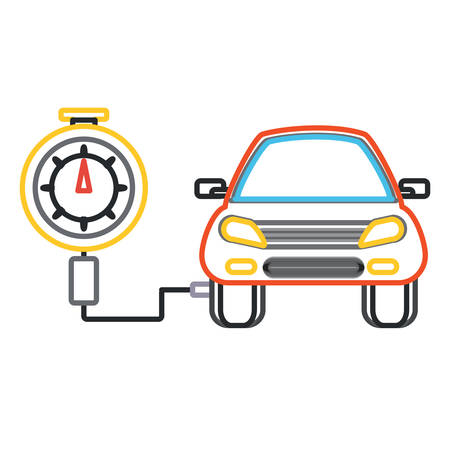 Tire gauge measuring the tire pressure of a car over white background colorful design vector illustration Vettoriali