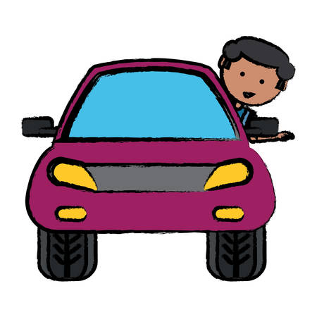 Car with cartoon man with head out the window over white background. Colorful design illustration.
