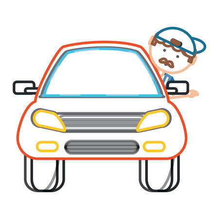 car with cartoon mechanic with head out the window over white background colorful design vector illustration Illustration