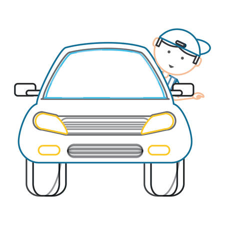 car with cartoon mechanic with head out the window over white background colorful design vector illustration Vektoros illusztráció
