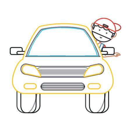 car with cartoon mechanic with head out the window over white background colorful design vector illustration Иллюстрация