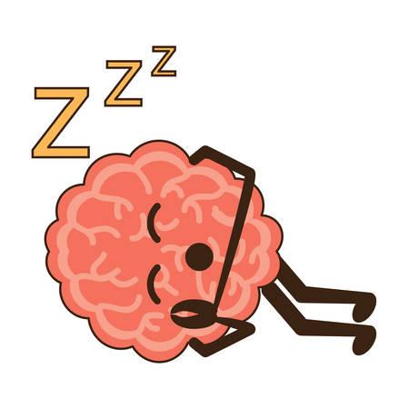 Kawaii assonnato icona del cervello su sfondo bianco design colorato illustrazione vettoriale