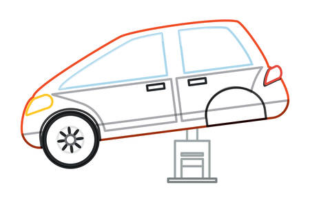 car service design with car on a Automotive Jack over white background colorful design vector illustration Illustration