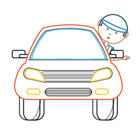 car with cartoon mechanic with head out the window over white background colorful design vector illustration