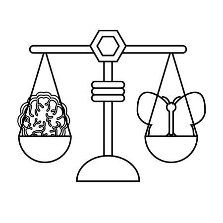 白い背景ベクトルイラストの上に蝶と脳のアイコンを持つ体重スケール