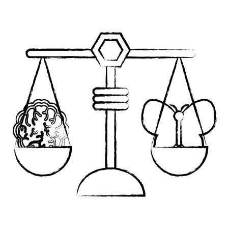 蝶と脳のアイコンを持つ体重スケール。  イラスト・ベクター素材