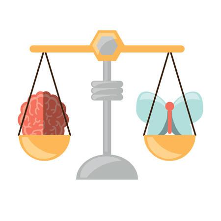 白地カラフルなデザインのベクトル図に蝶と脳のアイコンと体重計