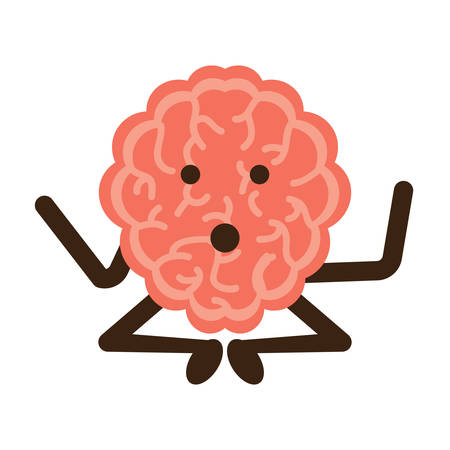 Brain practicing yoga icon over white background vector illustration Vectores
