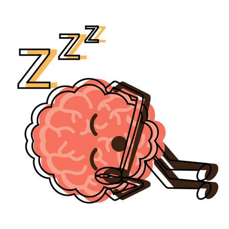 Sleepy brain icon over white background colorful design vector illustration