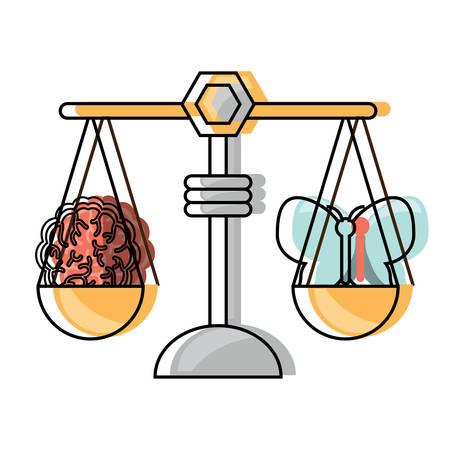 Gewichtsschaal met vlinder en hersenenpictogram over witte achtergrond kleurrijke ontwerp vectorillustratie
