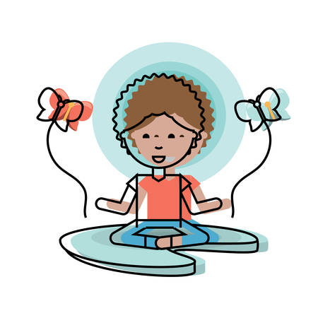cartoon man practicing yoga over white background colorful design vector illustration